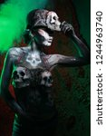 hot scary death bodyart woman... | Shutterstock . vector #1244963740