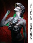 hot scary death bodyart woman... | Shutterstock . vector #1244963743