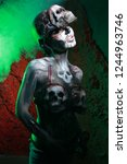 hot scary death bodyart woman... | Shutterstock . vector #1244963746