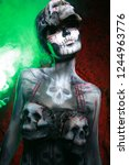 hot scary death bodyart woman... | Shutterstock . vector #1244963776