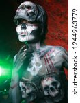 hot scary death bodyart woman... | Shutterstock . vector #1244963779