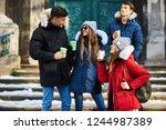 young friends having fun... | Shutterstock . vector #1244987389