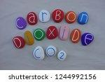 carbon dioxide co2 text... | Shutterstock . vector #1244992156