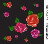 red and pink roses with petals... | Shutterstock . vector #124499488