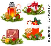 vector christmas concept icons... | Shutterstock .eps vector #1245008599