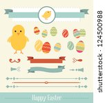 set of easter ornaments and... | Shutterstock .eps vector #124500988