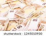 a big heap of fifty euro... | Shutterstock . vector #1245010930