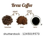 process of brewing coffee which ... | Shutterstock . vector #1245019573