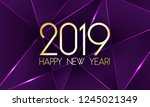 2019 happy new year card with... | Shutterstock .eps vector #1245021349