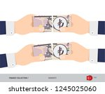 5 turkish lira banknote. hands... | Shutterstock .eps vector #1245025060