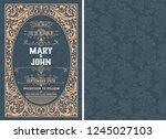 vintage wedding invitation...   Shutterstock .eps vector #1245027103