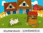 cartoon rural scene with farm... | Shutterstock . vector #1245040513