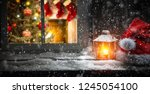 winter window and christmas...   Shutterstock . vector #1245054100