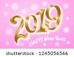 raster copy happy new year 2019.... | Shutterstock . vector #1245056566