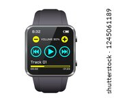 black smart watch with color... | Shutterstock .eps vector #1245061189