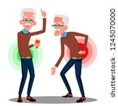 bent over old man from back... | Shutterstock .eps vector #1245070000