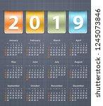 stylish calendar for 2019 on... | Shutterstock .eps vector #1245073846