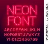 red neon tube alphabet font.... | Shutterstock .eps vector #1245074836