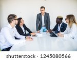 business people sitting and... | Shutterstock . vector #1245080566
