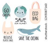 set of eco illustration... | Shutterstock .eps vector #1245087160
