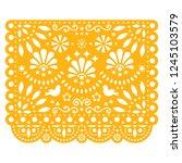 papel picado vector floral... | Shutterstock .eps vector #1245103579