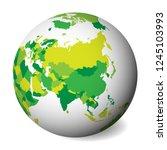 blank political map of asia. 3d ... | Shutterstock .eps vector #1245103993