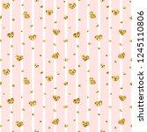 gold heart seamless pattern.... | Shutterstock . vector #1245110806