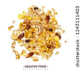 realistic muesli superfood... | Shutterstock .eps vector #1245111403