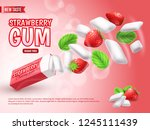 chewing gum with strawberry and ... | Shutterstock .eps vector #1245111439