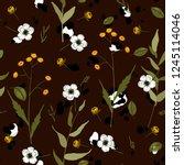 tropical vector seamless flower ... | Shutterstock .eps vector #1245114046