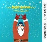 vector rock n roll santa claus... | Shutterstock .eps vector #1245129529