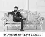 hipster on arrogant face sits... | Shutterstock . vector #1245132613