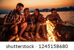 friends having picnic around... | Shutterstock . vector #1245158680