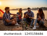 group of young friends having... | Shutterstock . vector #1245158686