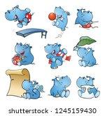 set of cartoon illustration.... | Shutterstock . vector #1245159430