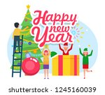 people celebrating new year ...   Shutterstock .eps vector #1245160039