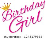 birthday girl with crown | Shutterstock .eps vector #1245179986