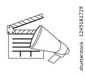 cinema clapboard and bullhorn... | Shutterstock .eps vector #1245181729