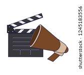 cinema clapboard and bullhorn | Shutterstock .eps vector #1245183556