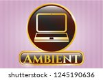 gold emblem or badge with... | Shutterstock .eps vector #1245190636