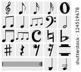Vector Music Note  Icons Set O...