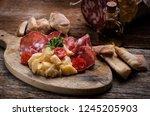 arrangement of delicatessen... | Shutterstock . vector #1245205903