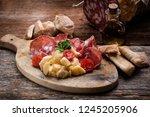 arrangement of delicatessen... | Shutterstock . vector #1245205906