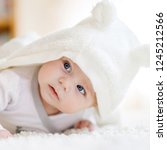 baby girl with blue eyes... | Shutterstock . vector #1245212566