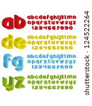 3d alphabet in different colours | Shutterstock .eps vector #124522264