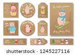 christmas set of tags with... | Shutterstock .eps vector #1245227116