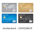 credit card set vector   Shutterstock .eps vector #1245228619