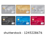 credit card set vector | Shutterstock .eps vector #1245228676