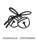 hand drawn christmas bells on... | Shutterstock .eps vector #1245234646