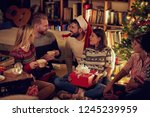 group of cheerful and happy... | Shutterstock . vector #1245239959